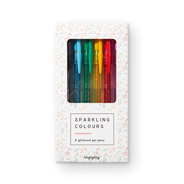SPARKLING COLOURS — 6 GLITTERED GEL PENS